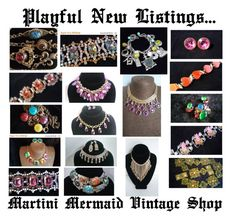 """""""Playful New Listings....."""" by martinimermaid on Polyvore featuring Gripoix, Napier, Avon and vintage"""
