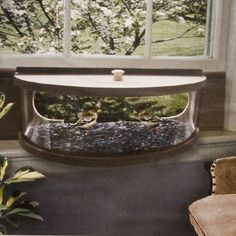 Coveside Panoramic In-house Window Bird Feeder with Mirrored Panel $99