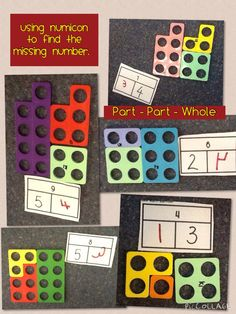 Using numicon to understand the missing numbers in part/part/whole concept Early Years Maths, Early Math, Early Learning, Kindergarten Math, Teaching Math, Elementary Math, Teaching Ideas, Fun Math, Math Games