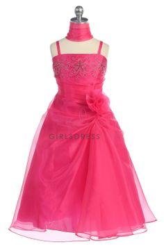 Fuchsia Stone Beaded Organza Flower Girl Dress L4325-FU on www.GirlsDressLine.Com