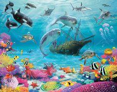 Diep in de zee onderwater behang. Kijk of je al de vissen die in de zee leven kunt ontdekken, het zijn er meer dan dat je op het eerste ogenblik denkt. De teken