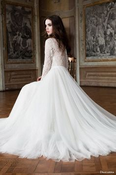daalarna 2014 bridal long sleeve lace bodice wedding dress back view seated