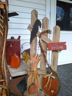 Fall Welcome Fence, Vintage Gas Can