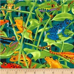 Timeless Treasures Rainforest Frogs Brite