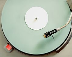 Clock - Green Mint Pastel Retro Record Player by blueorder