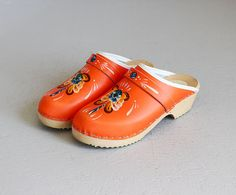 vintage Swedish hand painted orange clogs / 6 1/2  by secretlake, $68.00