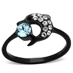 Black Stainless Steel Crystal Dolphin Ring – Just Fab Not Drab