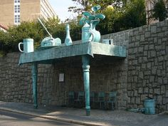 Liberec. Busshelter by David Černý. - Love his sense of humor!