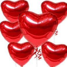 Scarlet Helium Balloons In Heart Shape