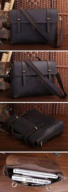 """Men's Vintage Leather Briefcase / Messenger / 13"""" 14"""" Laptop 13"""" 15"""" MacBook Bag"""