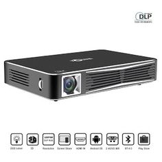 """Features & Benefits"" TOUMEI V3 Smart Video Projector DLP 3D Home Theater WiFi Bluetooth Projector Portable Mini Office Projector Multi-screen Sharing Android HDMI-in USB TV TF-card SD Remote Control with Free 3D Glasses"