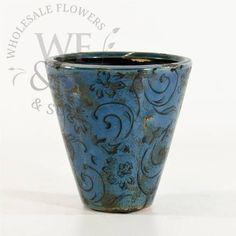 Decorative Weathered Blue Tapered Ceramic - WholesaleFlowersAndSupplies.com
