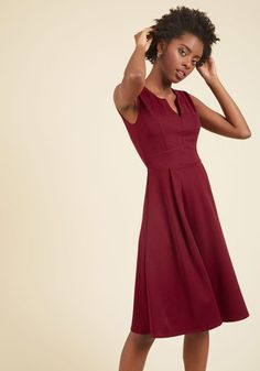 Take this opportunity to reflect on your wardrobe. After mere moments, this rich red dress will be determined your most trusty! Its notched neckline, broad waistband, and back keyhole mark this knit number as an embodiment of your enthusiasm for classic style.