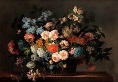 """Jean-Baptiste Monnoyer : """"Still Life with Basket of Flowers"""" (c1690s) - Giclee Fine Art Print"""