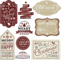 Christmas Gift Tags and Labels royalty-free stock vector art