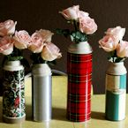 Thermos Vase - These would be a cute January center piece.