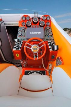 Cockpit of a cigarette boat Fast Boats, Cool Boats, Speed Boats, Power Boats, High Performance Boat, Offshore Boats, Boat Stuff, Yacht Boat, Super Yachts
