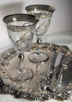 "Bohemian Crystal From Prague! I find my Grandmother Jessie's pattern - these goblets & 12 ""sherberts"", as Grand-mère called the long stemmed champagnes. Silver Platters, Crystal Glassware, Antique Silver, Metal, Shabby, Just For You, Bohemian, Pottery, Sterling Silver"