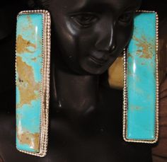 NAVAJO+TOM+BEGAY+EXTRA+LONG+TURQUOISE+SIGNED+POST+EARRINGS,+Sterling+Silver+