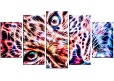 Cheetah Face 5 Piece Graphic Art on Gallery Wrapped Canvas Set