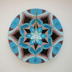 Magic Sempervivum Mandala Wall Clock Glass Clock Wall by heraglass  #mandala #lakasdekoracio #ajandekotlet