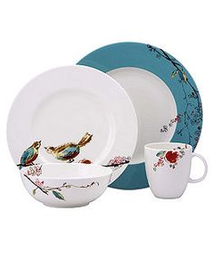 Lenox Simply Fine Dinnerware, Chirp Round 4 Piece Place Setting - Casual Dinnerware - Dining & Entertaining - Macy's Bridal and Wedding Registry Casual Dinnerware, Dinnerware Sets, China Dinnerware, Modern Dinnerware, Stoneware Dinnerware, Lenox China, China Teapot, Deco Table, Dinner Sets