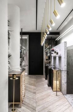 Modern and industrial store interior with marble slab wall