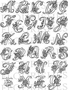 Letters in Blossom Embroidery Alphabet, Embroidery Monogram, Cross Stitch Alphabet, Hand Embroidery Stitches, Diy Embroidery, Embroidery Designs, Hand Lettering Fonts, Doodle Lettering, Lettering Styles