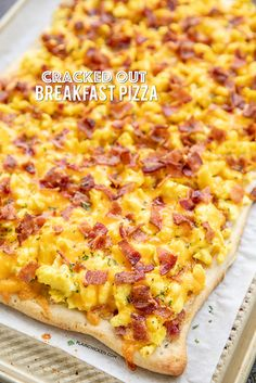 Cracked Out Breakfast Pizza - loaded with cheddar, bacon and Ranch! Easy enough for a weekday breakfast. Refrigerated pizza crust topped with ranch dressing, scrambled eggs, bacon and chedd Breakfast Casserole, Breakfast Recipes, Snack Recipes, Cooking Recipes, Bacon Breakfast Pizza Recipe, Detox Recipes, Breakfast Pizza Recipe With Crescent Rolls, Breakfast Ideas With Eggs, Breakfast Pizza Healthy