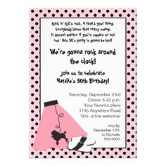 free surprise birthday invitations templates, poodle skirt | Rock & Roll 50's Birthday Invitation