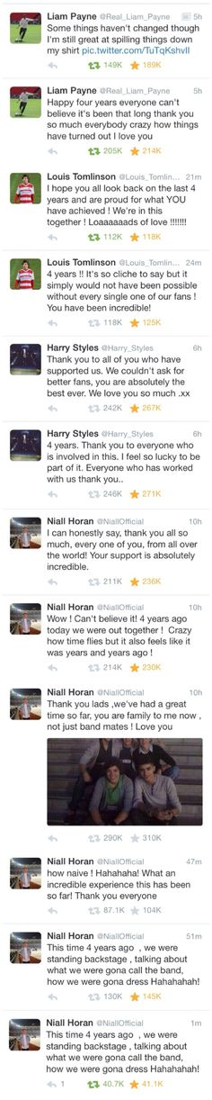 4/5 have tweeted about the anniversary so far! I'm not crying nope it just a little dirt in my eye or love and adoration whatever you choose