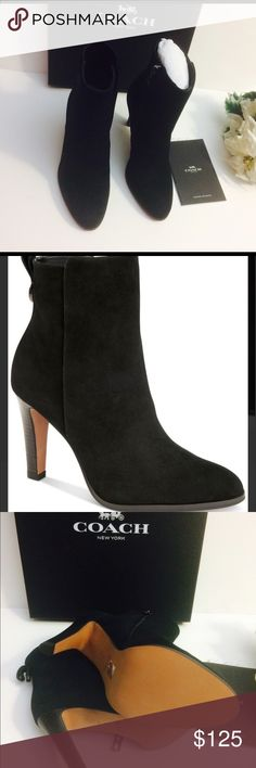 """Just reduced 🍒 Coach booties🍒 Crafted soft high quality so comfy suede boot. Heel 3.7"""". Coach Shoes Ankle Boots & Booties"""