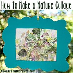 How to Make a Nature Collage - Go for a walk and find natural treasures and then turn them into a fun sun catcher! (http://aboutfamilycrafts.com/how-to-make-a-nature-collage/)