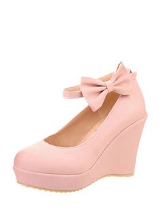 Solid Ankle Strap Bow Wedge Pumps & Pumps - at Jollychic