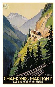Chamonix Martigny (Switzerland) train vintage poster