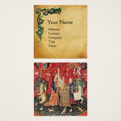 UNICORN AND LADY PLAYING ORGAN,Floral Parchment Square Business Card #nature #garden #beauty #heraldic #fantasy #music