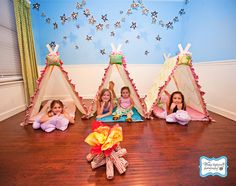 Indoor camping. Adorable tents!
