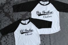 BIG brother LITTLE brother set - Kid's personalized NAME raglan baseball shirts - infant/ kids sizes on Etsy, $40.00