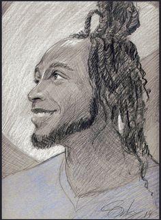 """""""Deandre"""" Pencil portrait drawing, dreadlocks, man, fit guy"""