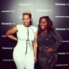 Wow Miss #GenevaSThomas of #BRAVO #BloodSweatHeels, looks Super Sassy in our black studded cocktail dress at yesterdays #Hennessy #Superbowl party  www.issuenewyork.com
