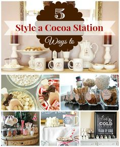 5 Ways to Style a Hot Chocolate Station - Infarrantly Creative - Buffet Ideen Hot Chocolate Party, Cocoa Party, Chocolate Bars, Holiday Parties, Holiday Fun, Christmas Party Ideas For Teens, Holiday Style, Christmas Treats, Christmas Holidays