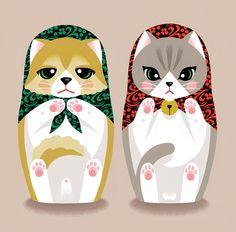 Illustration_Matryoshka doll_cat_dog