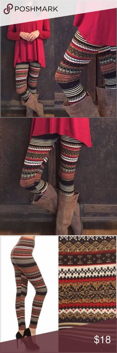 Fair Isle Print Leggings Multi-colored, Fair Isle print leggings. Super soft brushed knit with good stretch!  92% Polyester 8% Spandex One size fits sizes 0-12  Price is firm unless bundled #LR 883420 Pants Leggings