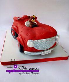 baby car cake by Radmila Baby Cake Design, Japanese Garden Backyard, Cute Birthday Cakes, Sugar Paste, Cake Tutorial, Creative Cakes, Cupcake Cookies, Little Princess, Amazing Cakes