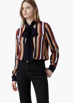 Striped bow blouse -  Women | MANGO