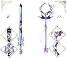 Butterfly Weapon Adopts by Black-Quose Fantasy Jewelry, Fantasy Art, Sword Design, Anime Weapons, Magical Jewelry, Weapon Concept Art, Fashion Design Drawings, Magic Art, Drawing Clothes