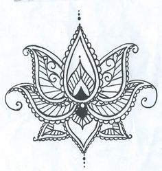 Lotus Temporary Tatto With Paisley Henna Style Petals Hand Drawn Illustration by ashinetoit on Etsy