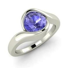 Engagement Rings - Walenty - Tanzanite Engagement Ring in 14k White Gold (0.97 ct.tw.)
