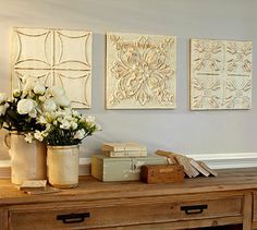 Love the feel from the colors, flowers, and warm wood. Ivory Medallion Tiles, Set of 3 #potterybarn