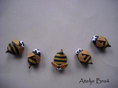 polymer clay  bees (or bumblebees) magnets by Gorana Perović - Atelje Broš